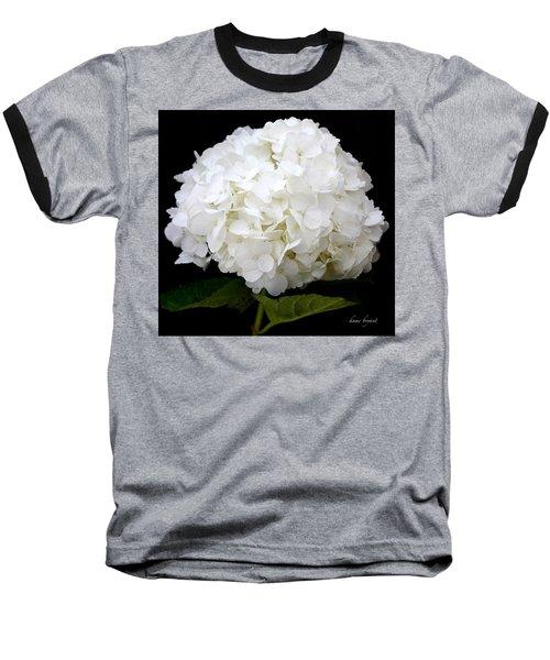White Hydrangea Baseball T-Shirt by Kume Bryant