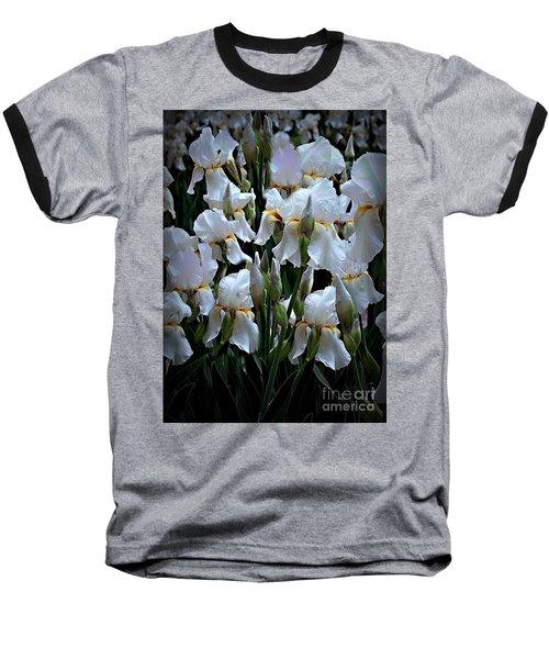 White Iris Garden Baseball T-Shirt