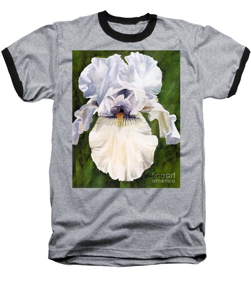 Baseball T-Shirt featuring the painting White Iris by Laurie Rohner
