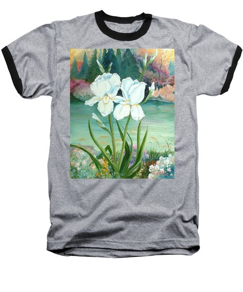 White Iris Love Baseball T-Shirt