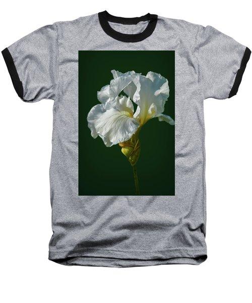 White Iris On Dark Green #g0 Baseball T-Shirt