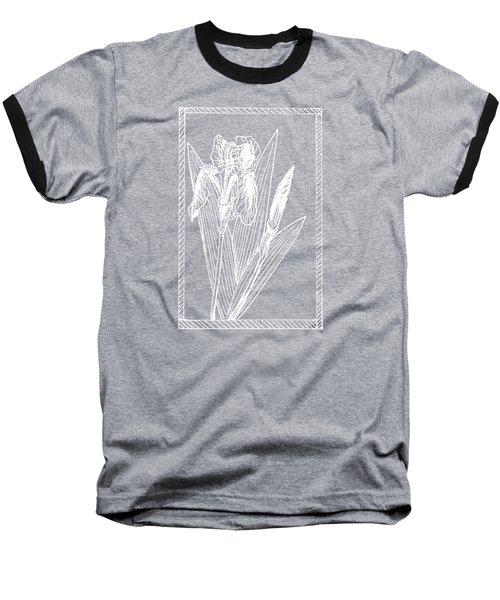 White Iris On Transparent Background Baseball T-Shirt