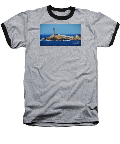 Baseball T-Shirt featuring the painting White Island Lighthouse by Mim White