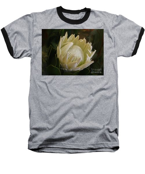 Baseball T-Shirt featuring the photograph White King Protea By Kaye Menner by Kaye Menner
