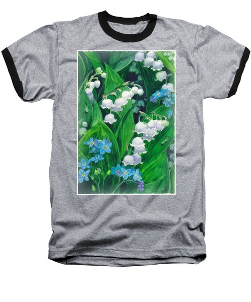White Lilies Of The Valley Baseball T-Shirt by Sergey Lukashin