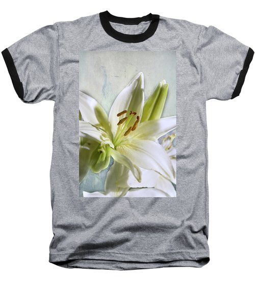 White Lilies On Blue Baseball T-Shirt by Jacqi Elmslie