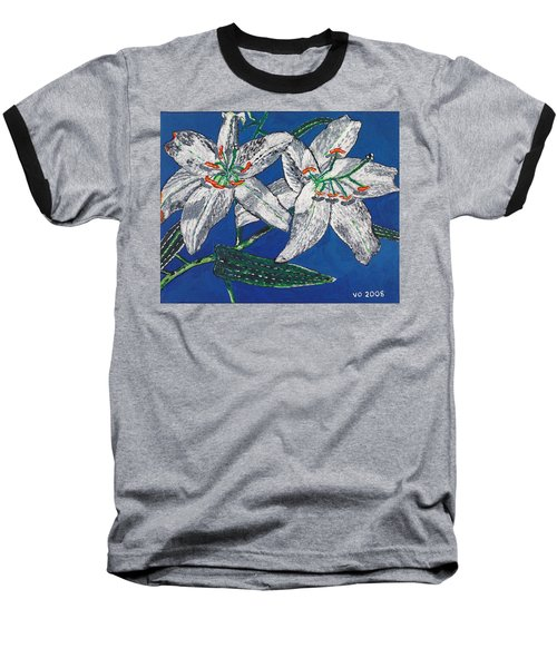 White Lilies Baseball T-Shirt by Valerie Ornstein