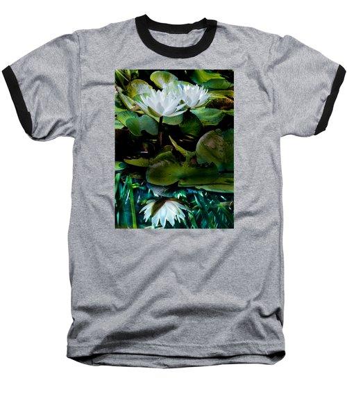 White Lilies, White Reflection Baseball T-Shirt