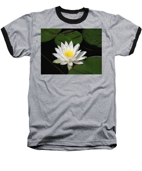 White Lily Pad Baseball T-Shirt