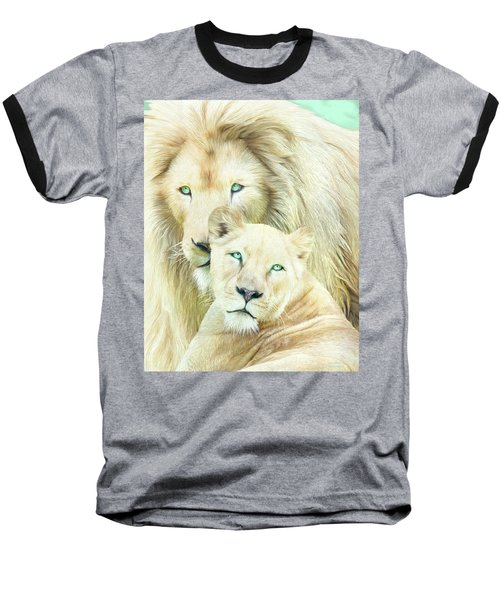 Baseball T-Shirt featuring the mixed media White Lion Family - Mates by Carol Cavalaris