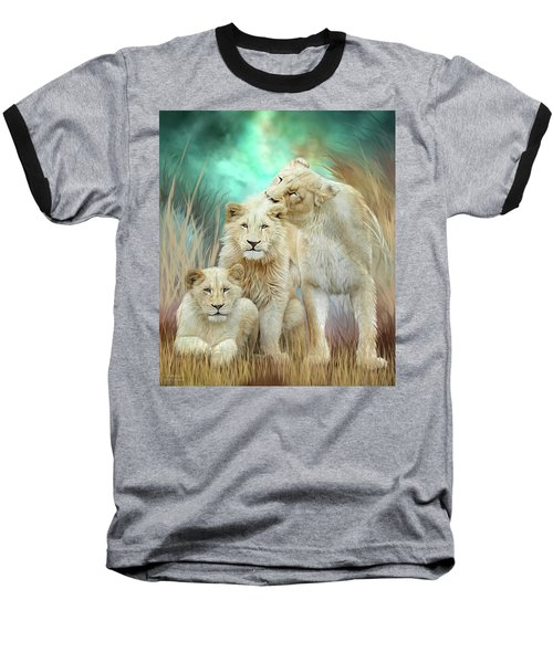 Baseball T-Shirt featuring the mixed media White Lion Family - Mothering by Carol Cavalaris