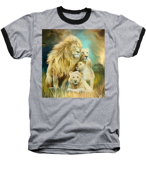 Baseball T-Shirt featuring the mixed media White Lion Family - Unity by Carol Cavalaris