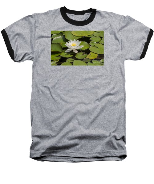 White Lotus Flower Baseball T-Shirt by JT Lewis