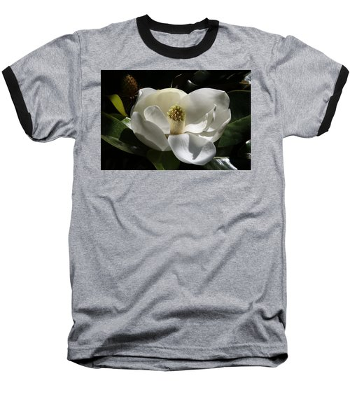 White Magnolia Flower Baseball T-Shirt