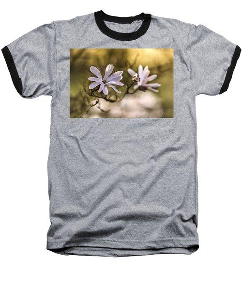 White Magnolia Baseball T-Shirt