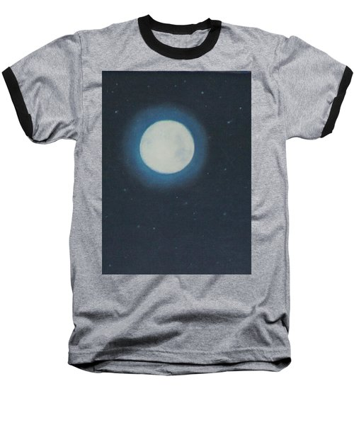 White Moon At Night Baseball T-Shirt