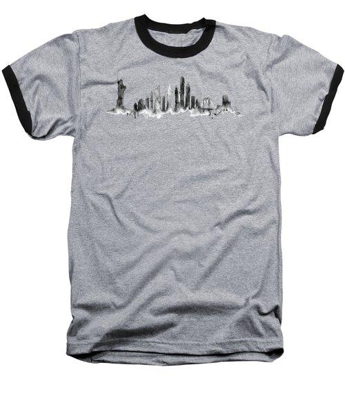White New York Skyline Baseball T-Shirt by Aloke Creative Store