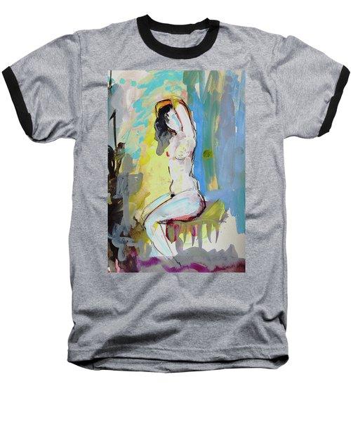 White Nude And Bird Baseball T-Shirt by Amara Dacer