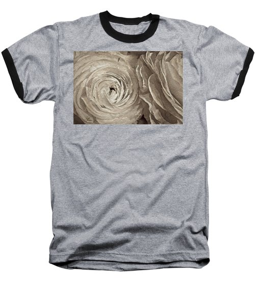 Baseball T-Shirt featuring the painting White On White Rose by Joan Reese