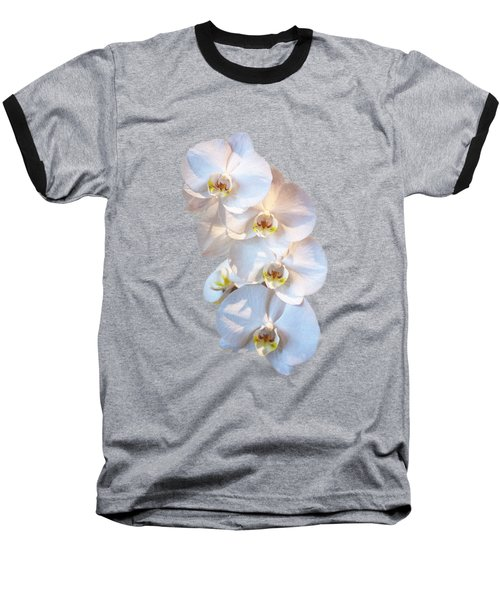 White Orchid Cutout Baseball T-Shirt by Linda Phelps