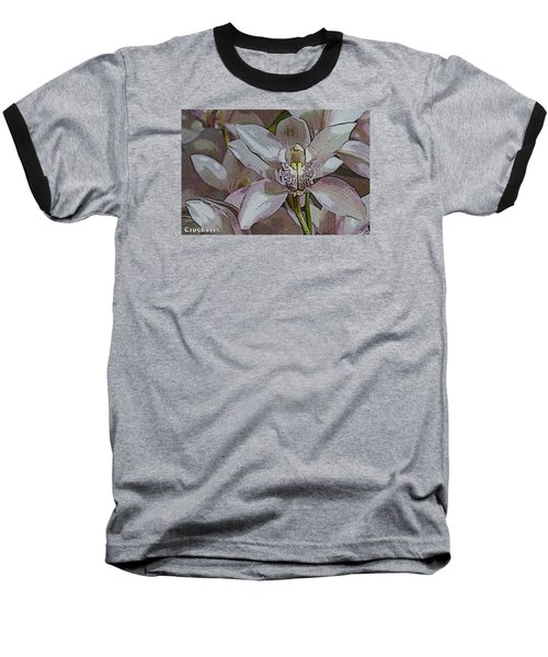 White Orchid Flower Baseball T-Shirt