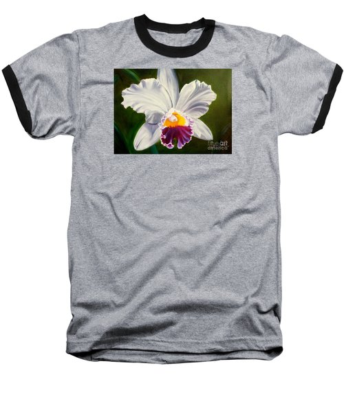 Baseball T-Shirt featuring the painting White Orchid by Jenny Lee
