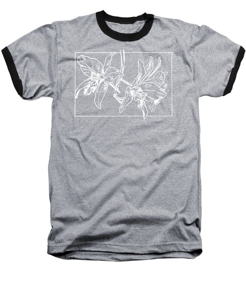 White Orchid On Transparent Background Baseball T-Shirt
