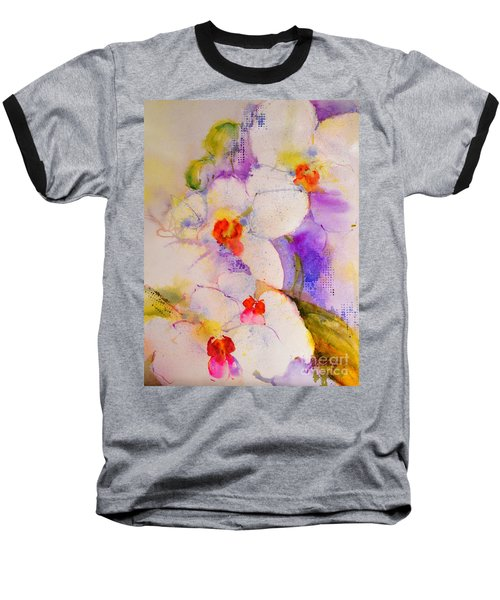White Orchids Baseball T-Shirt by Betty M M Wong