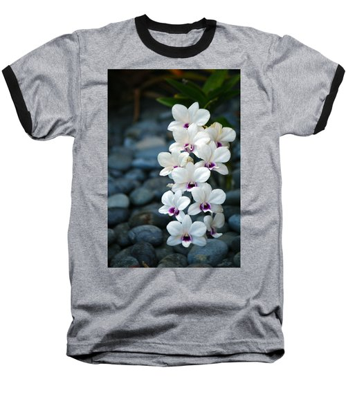 Baseball T-Shirt featuring the photograph White Orchids by Debbie Karnes