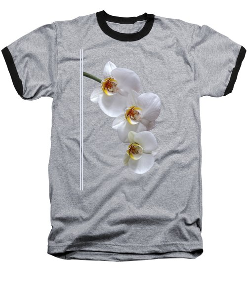 White Orchids On Black Vertical Baseball T-Shirt by Gill Billington