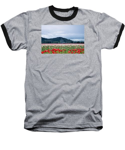White Pass Highway With Tulips Baseball T-Shirt by E Faithe Lester