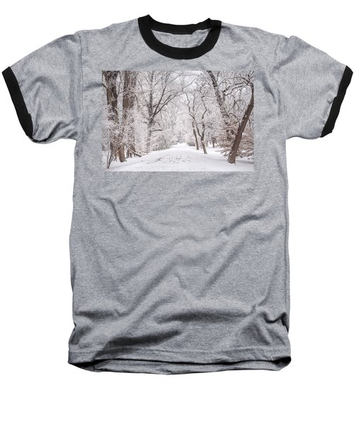 Baseball T-Shirt featuring the photograph White Path To Winter Dream by Jenny Rainbow