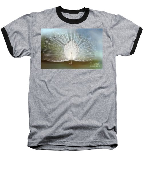 Baseball T-Shirt featuring the photograph White Peacock In All His Glory by Bonnie Barry