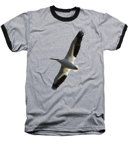 White Pelican In Flight Transparency Baseball T-Shirt