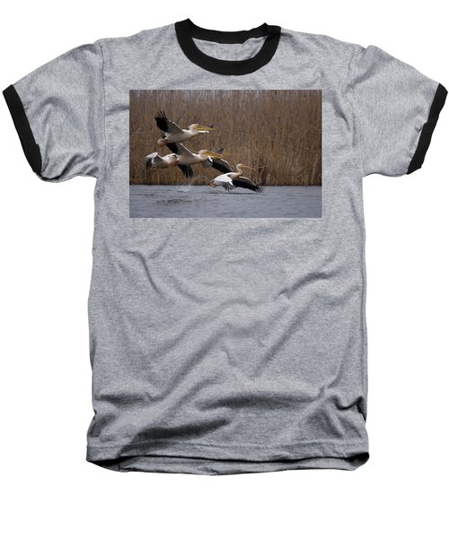 White Pelicans In Flight Over Lake Baseball T-Shirt