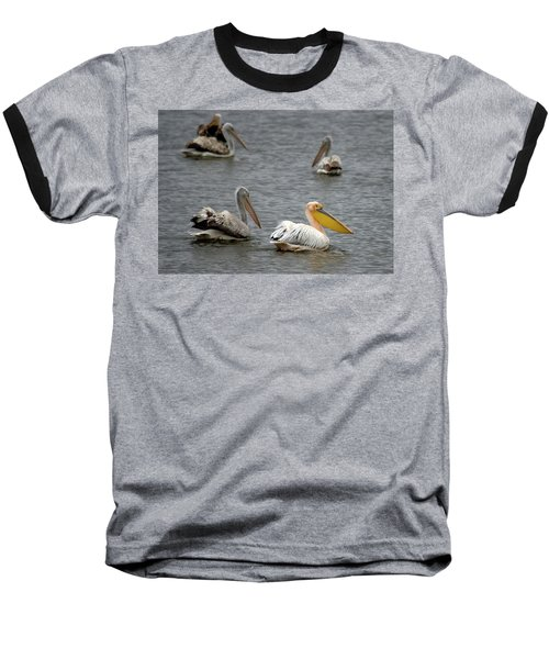 White Pelicans On Lake  Baseball T-Shirt