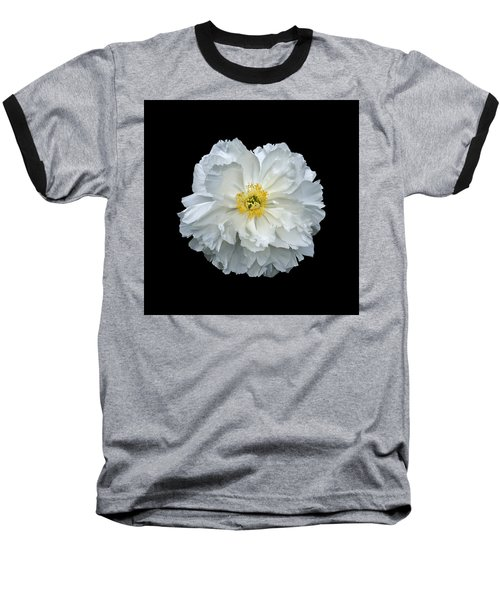 White Peony Baseball T-Shirt by Charles Harden