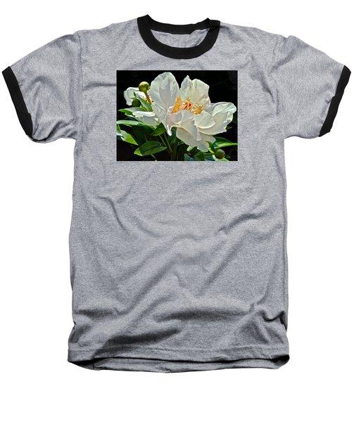 White Peony Baseball T-Shirt by Janis Nussbaum Senungetuk
