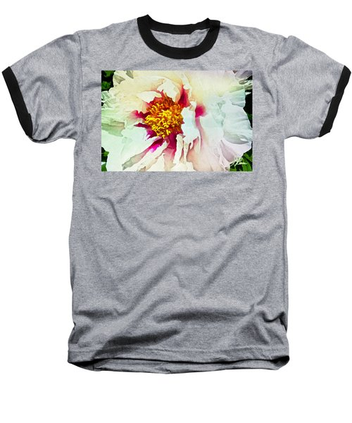 White Peony Baseball T-Shirt by Joan Reese