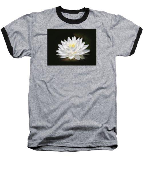 White Petals Glow - Water Lily Baseball T-Shirt by MTBobbins Photography