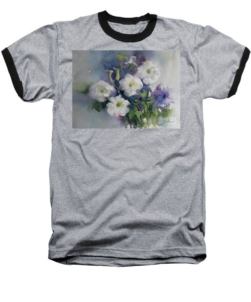 White Petunias Baseball T-Shirt