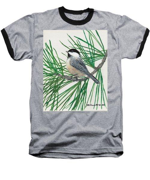 Baseball T-Shirt featuring the painting White Pine Chickadee by Kathleen McDermott