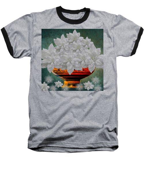 White Poinsettias In A Bowl Baseball T-Shirt by Saundra Myles