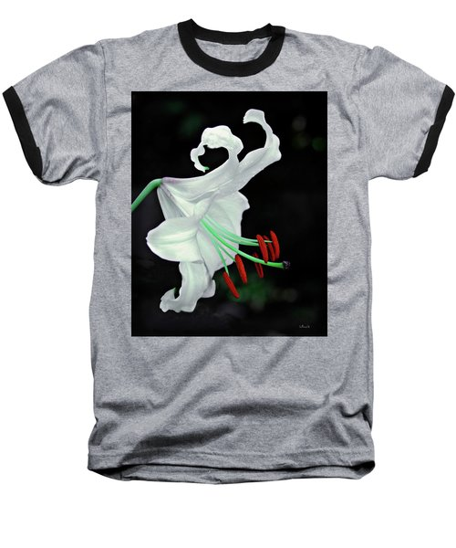 White, Red And Green Lily Baseball T-Shirt