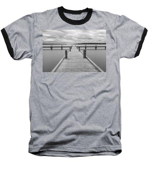 White Rock Lake Pier Black And White Baseball T-Shirt