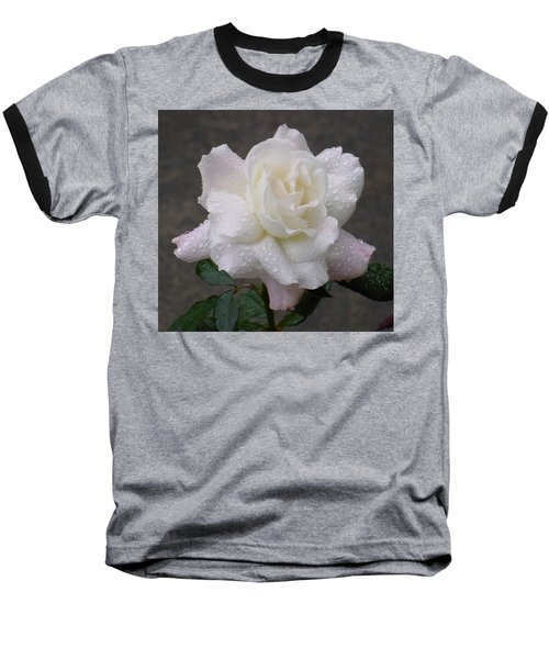 White Rose In Rain - 3 Baseball T-Shirt