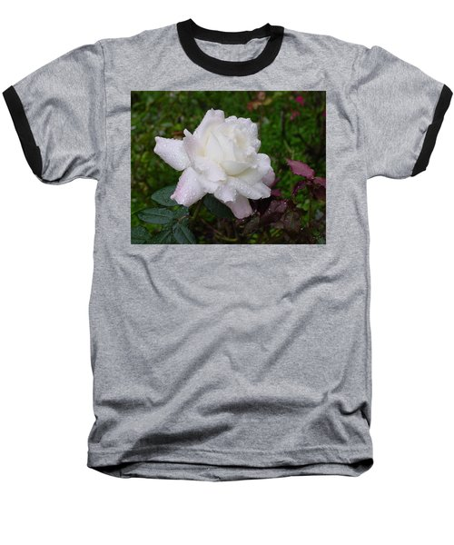 White Rose In Rain Baseball T-Shirt