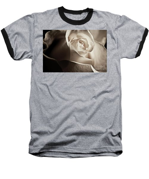 Baseball T-Shirt featuring the photograph White Rose In Sepia 2 by Micah May