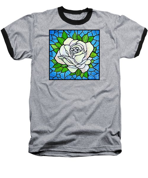 Baseball T-Shirt featuring the painting White Rose  by Jim Harris