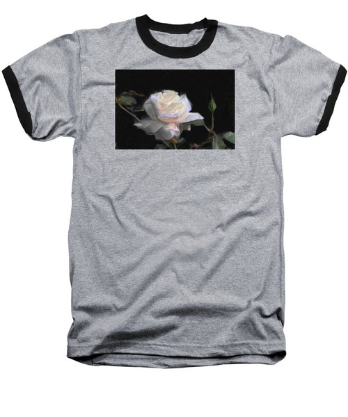 White Rose Painting Baseball T-Shirt by Don  Wright